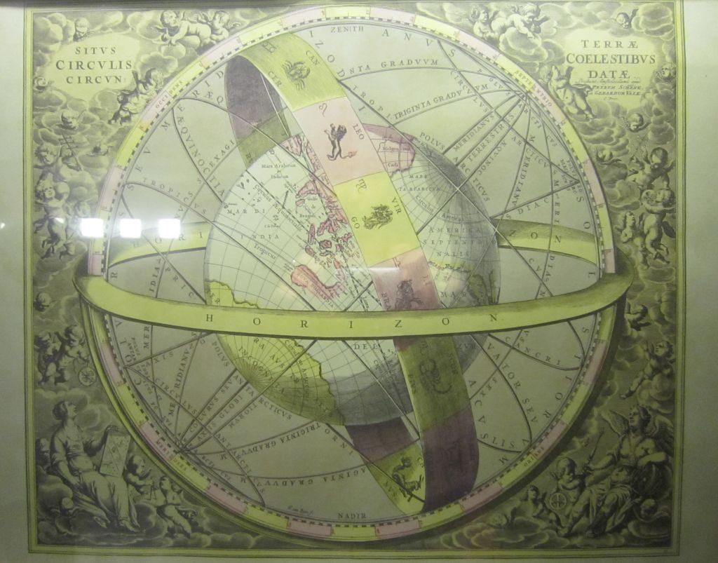 Bild mit Breiten- und Längengraden im Planetarium Bremerhaven (c) Tanja Albert