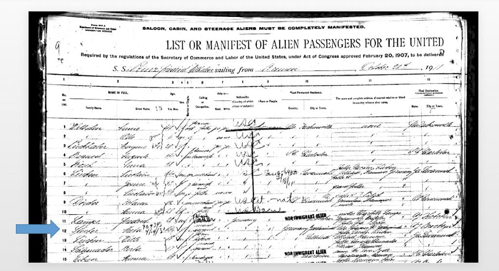 """Ein Ausschnitt aus einer Passagierliste der """"Prinz Friedrich Wilhelm"""" (Abfahrt 21. Oktober 1911)."""
