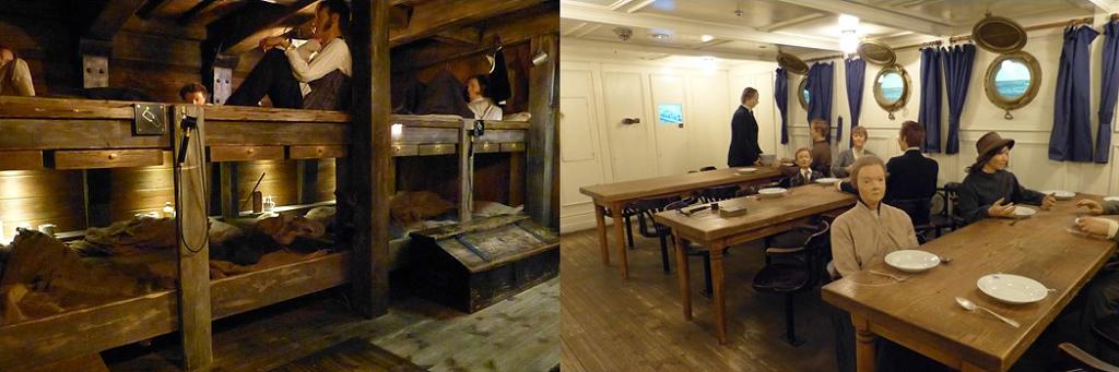 """Zwei Museumsräume aus dem Deutschen Auswandererhaus Bremerhaven: die Schiffsinnenräume des Segelschiffes """"Bremen"""" und des Oceanliners """"Columbus"""""""
