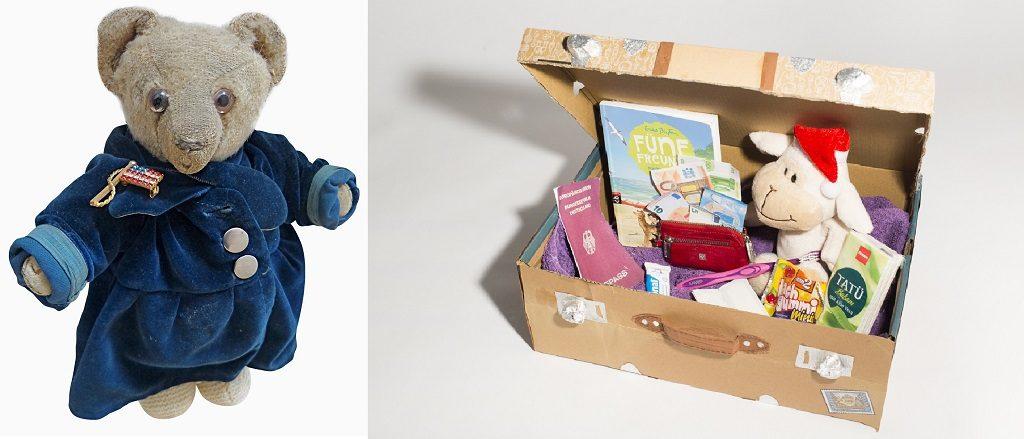 """Ein Teddy aus der Sammlung des Deutschen Auswandererhauses und ein kreativer Auswandererkoffer. Beide sind in der neuen Sonderausstellung """"Ich packe meinen Koffer"""" im Deutschen Auswandererhaus zu sehen."""