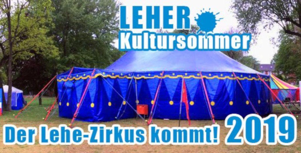 Das Bild zeigt ein Zirkuszelt und das Logo vom Kultursommer Lehe