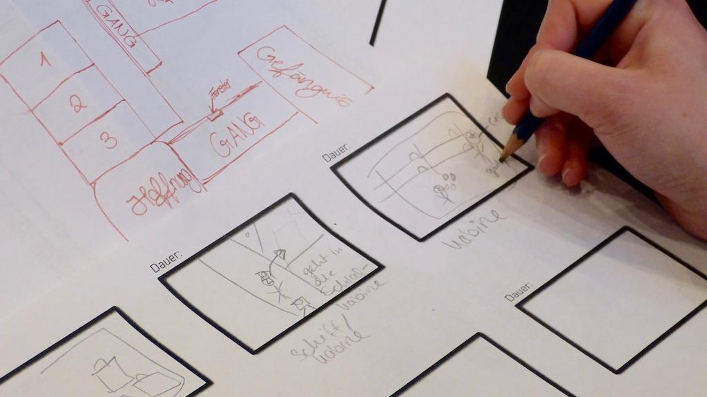 Nach der Ideenfindung werden Drehbuch und Storyboard Schritt für Schritt erstellt. © Deutsches Auswandererhaus / Foto: Ilka Seer