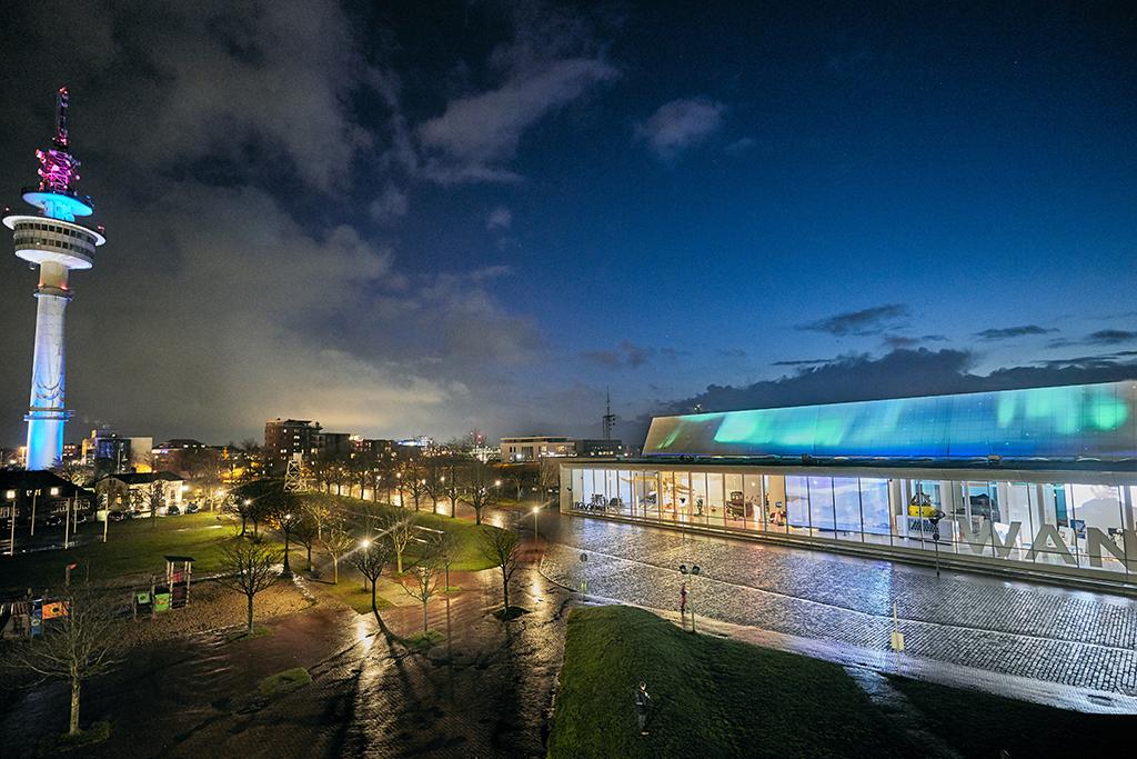 Screening Northern Lights auf dem Dach des Deutschen Schifffahrtsmuseums