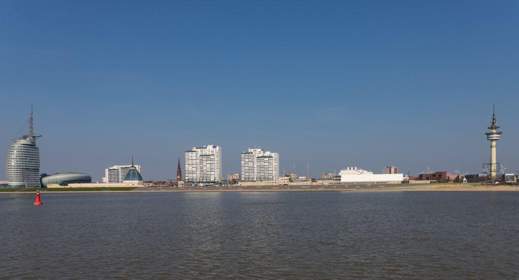 Blick auf die Skyline Bremerhavens