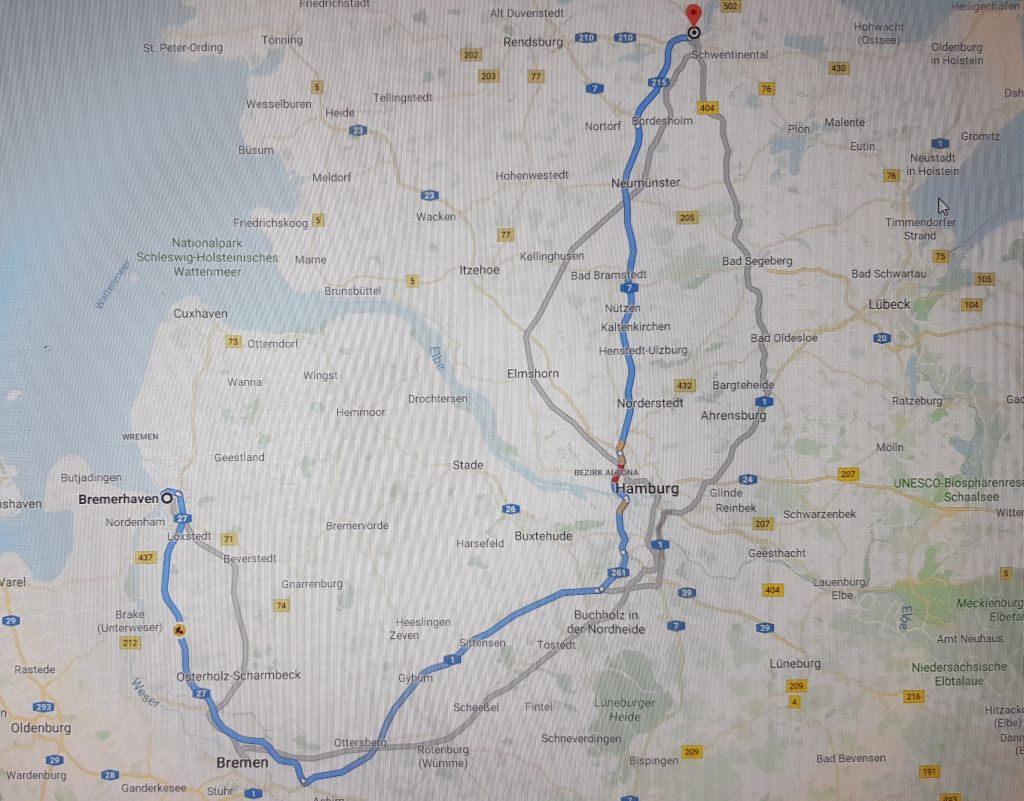 Wegbeschreibung von Bremerhaven nach Kiel (c) Tanja Albert