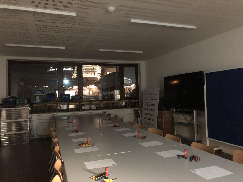 Die Räume der Museumspädagogik bei Dunkelheit