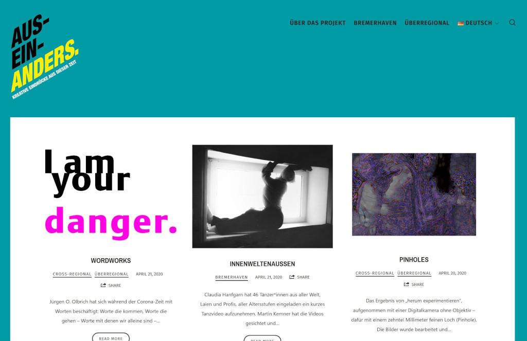 """Ansicht der Website """"AUS-EIN-ANDERS"""""""