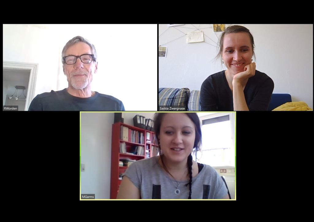 Robert (links) und Marie (unten) im Gespräch mit mir. (c.) S. Mosler