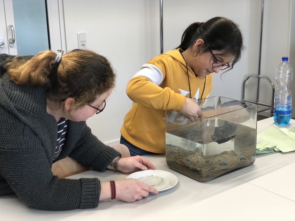 Ein junges Mädchen entnimmt eine Bodenprobe bei der Museums AG.