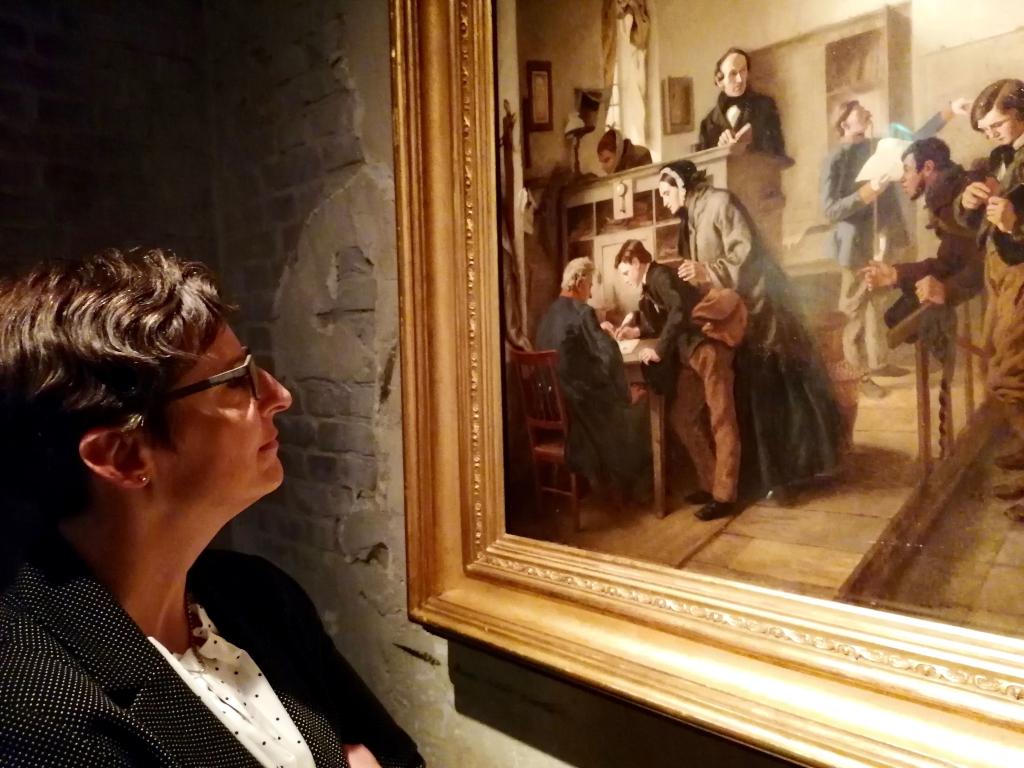 Das Schlesinger-Gemälde in der Wartehalle des Deutschen Auswandererhauses