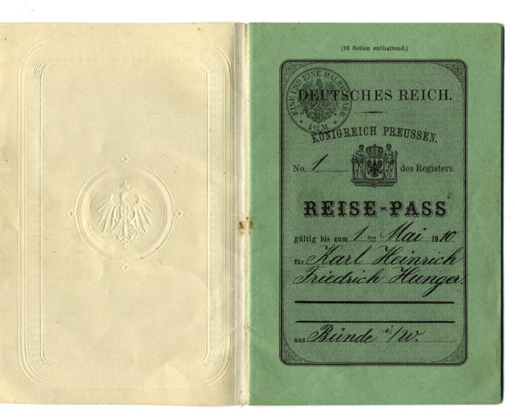 Vorder- und Rückseite des Reisepasses von Karl H. F. Hunger aus Bünde in Nordrhein-Westfalen