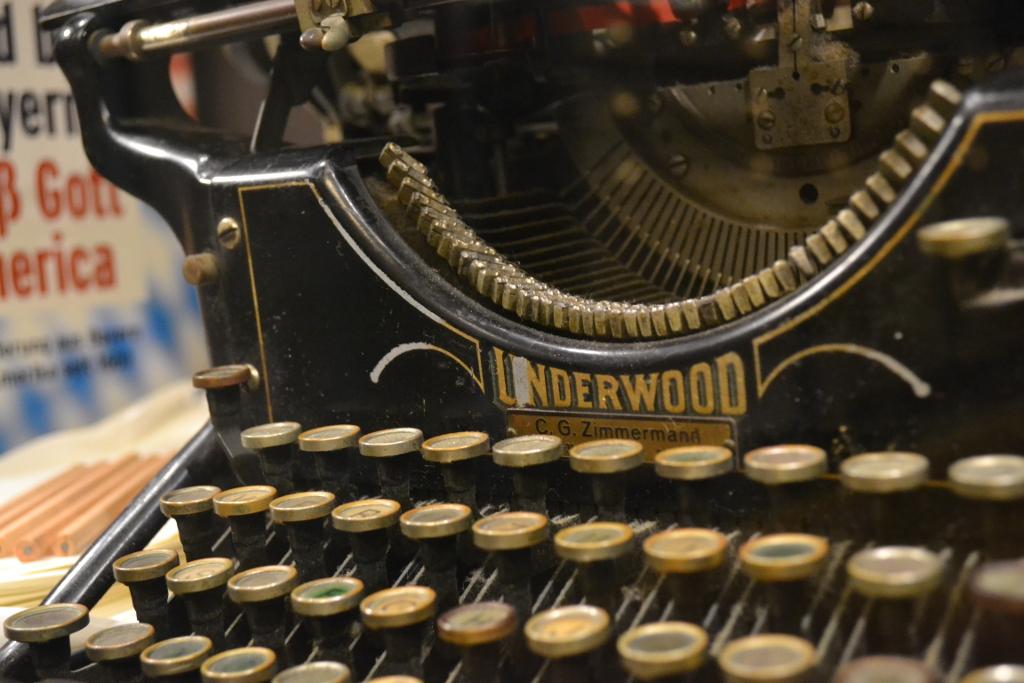 Schreibmaschine der Firma Underwood. Sie wurde zu einem wichtige Instrument um Briefe zu verfassen.