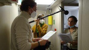 Victor und Michaela nehmen auch unter Deck Tonsequenzen auf.