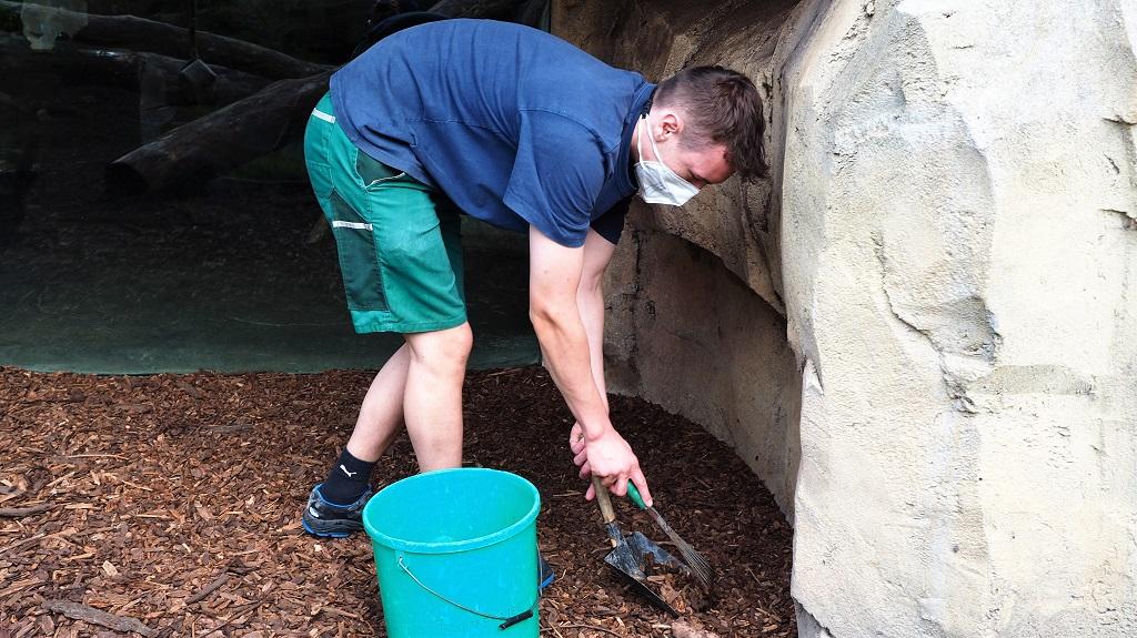 Tim säubert die Pumaanlage