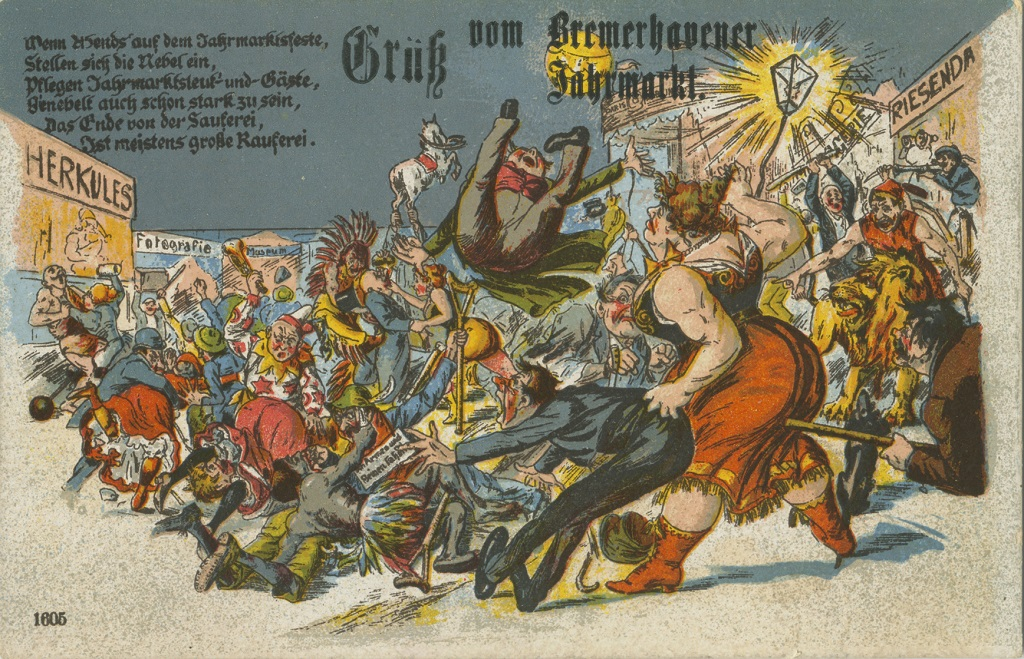 Ansichtskarte vom Bremerhavener Freimarkt, um 1910 © Historisches Museum Bremerhaven