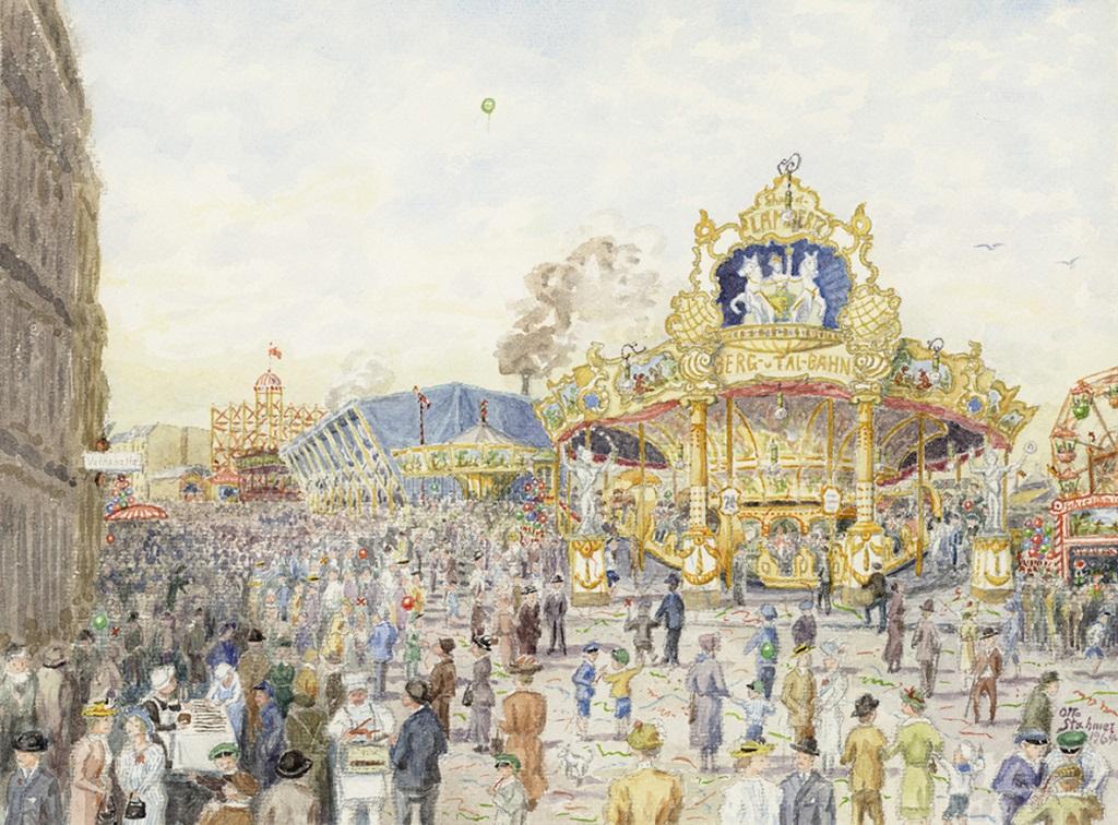 Das Aquarell zeigt den Freimarkt um 1900 aus der Erinnerung des Zeitzeugen und Malers Otto Stahmer  © Historisches Museum Bremerhaven