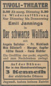 """Eine alte Anzeige für die Kinovorstellung """"Der schwarze Walfisch"""""""